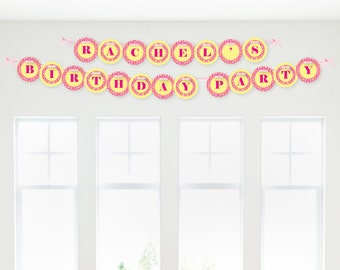 Pink Girl Puppy Garland Banner - Custom Party Decorations