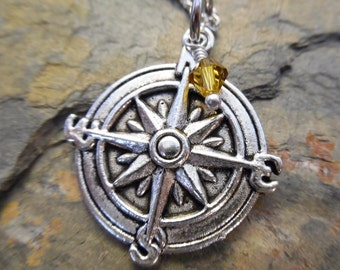Compass Birthstone Necklace - Antique Silver Jewelry - NEW