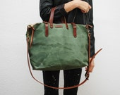 ZIP--waxed canvas bag with leather handles and closures,green army color