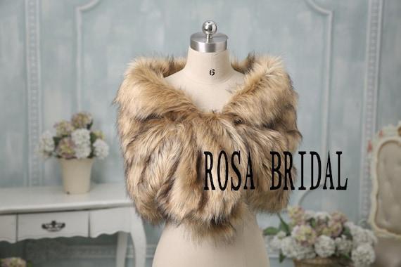 faux fur bridal wrap shrug stole shawl cape wedding faux fur wrap