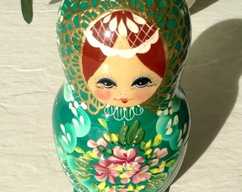 Antique Russian Stacking Dolls, all Hand Painted, Set of 5