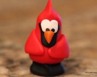 Ray the Cardinal, polymer clay, miniature animal, bird figurine, pocket totem, small sculpture, cardinal figurine, clay bird, cardinal totem