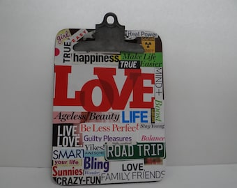 Vintage Collage Clipboard - Magazine clipings, inspirational words