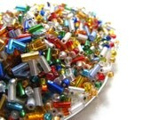 Bugle and Seed Bead Mix Bright Colors Tiny Glass 48 grams