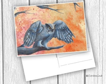 """Postcard """"owl with red sky"""" limited edition"""