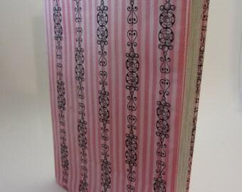 Pink and Gray Parisian Stripe Adjustable Fabric Manga Book Cover
