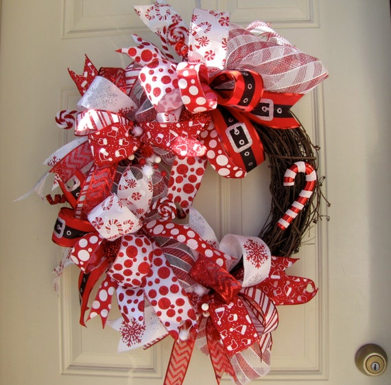 Indoor Wreaths Home Decorating: Items Similar To Deluxe Red And White Christmas Holidays