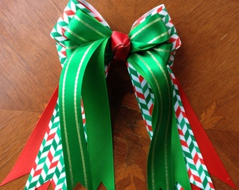 Holiday Hair Accessory or Horse Show Hair Bows - Holiday Smiles
