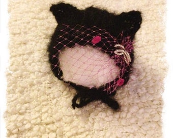 new born knitted mohair black cat bonnet