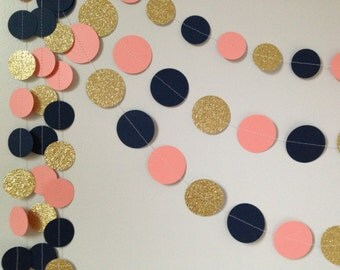 Gold glitter, coral/peach, navy blue 10 ft. circle paper garland, baby shower bridal shower birthday party wedding