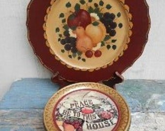Set of Wooden Handpainted Tole Plate with Fruit Motif and Vintage Metal Tin!