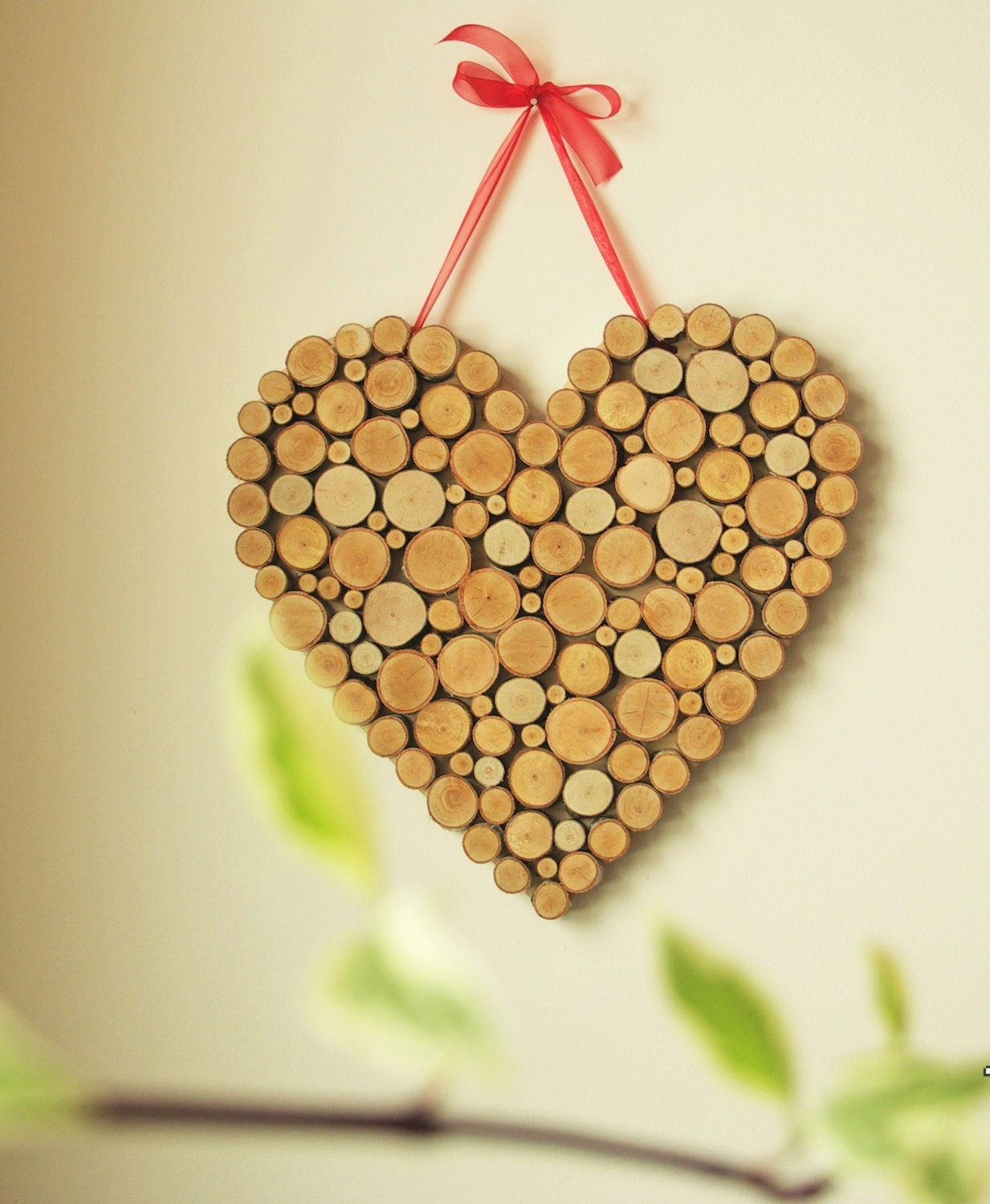 wooden heart of birch tree slices decoration wall hanging