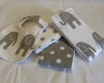 Set of 3 handcrafted baby burp cloths and bib in gray and white elephants and polka dots.