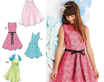 Girls' & Girls' Plus Dresses and Knit Shrug Simplicity Pattern 1213