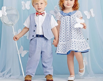 Simplicity Sewing Pattern 1206 Toddlers' Pants, Vest, Dress, Bow-Tie and Belt