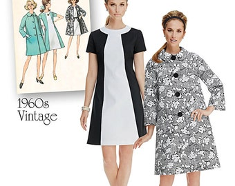 Simplicity Sewing Pattern 1197 Misses' Vintage Dress and Lined Coat