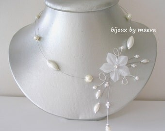 jewelry wedding necklace wedding flower and ivory pearls