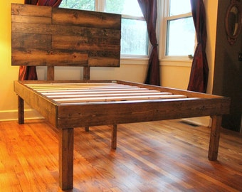 Rustic Wood Minimalist Bed Frame With Headboard
