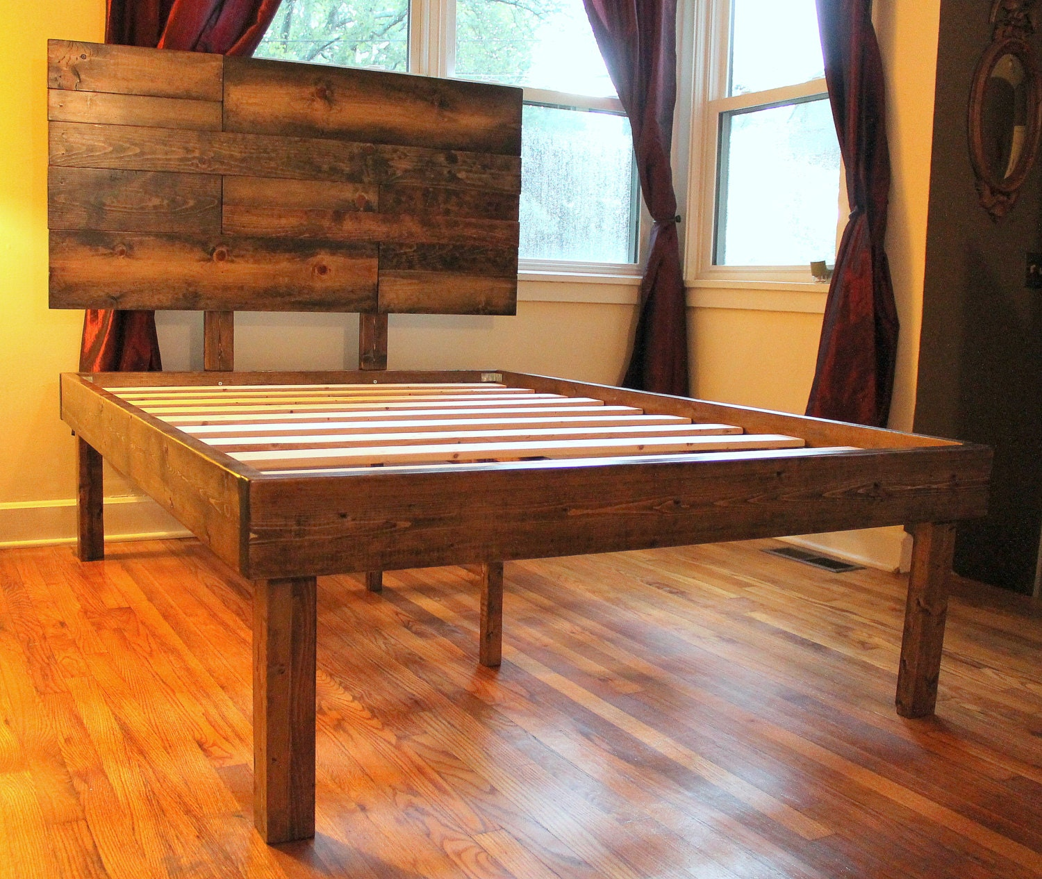 Rustic wood minimalist bed frame with headboard Rustic bed frames