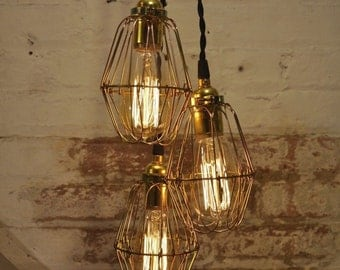Chandelier Unfinished Brass Cage Bulb Guard Light Pendant Hanging Industrial