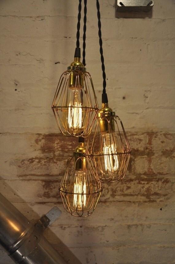 chandelier unfinished brass cage bulb guard light pendant. Black Bedroom Furniture Sets. Home Design Ideas