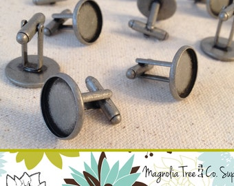Silver 16mm Cufflinks, DIY cuff links, Antique Brushed Silver, Bezel Blank, bezel setting, recessed cufflinks, makes 5 pairs (WS9-BAS5)