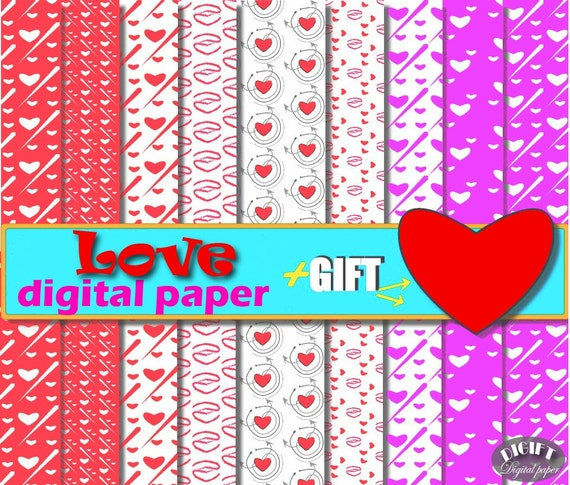Love Digital Paper Pink digital paper Red Heart and arrow Love decor Heart clipart artwork kiss red arrow red valentines day lips print art