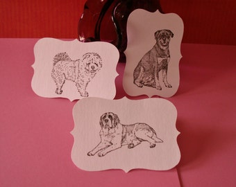 12 2 1/2 inch bracket hand stamped paper dog tags rottweiler, chow chow, saint bernard for gifts, cards, crafts, scrapbooking etc.