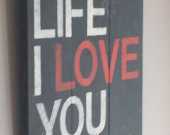 "Reclaimed wood sign "" in my life I love you more"" Beatles song quote"