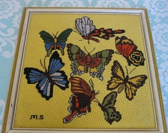 Vintage Butterfly picture, Butterfly Crewel picture, Vintage Crewel work wallhanging,