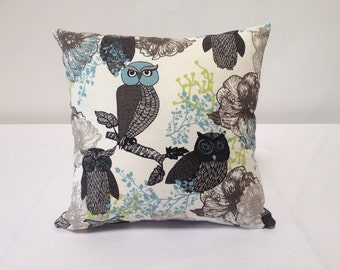 Owl Print 18 inch Decorative Pillow Cover