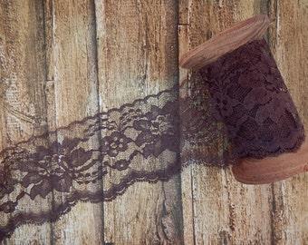 "Brown Polyester Raschel Flat Lace Trim 3"" 5 yards"