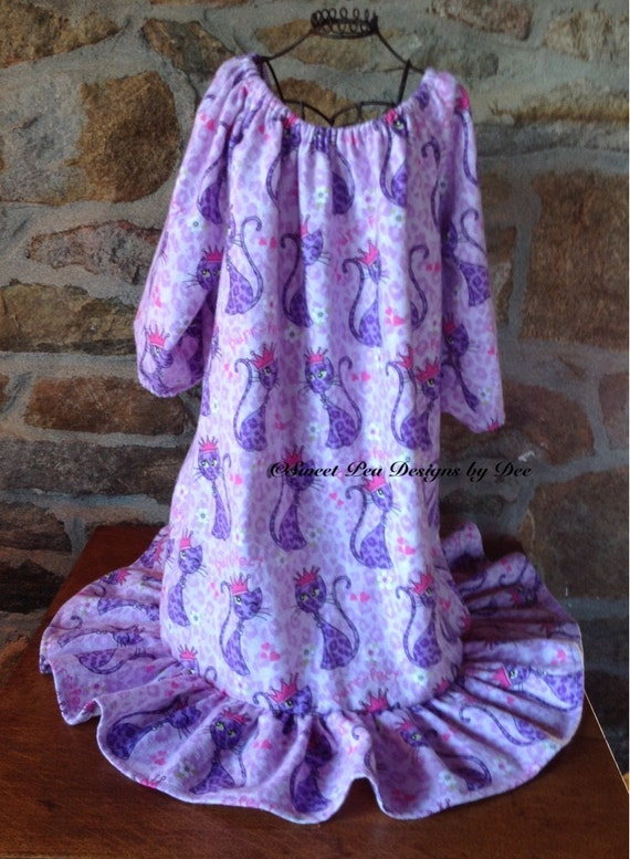 Flannel nightgown, sleepwear, purple,cat print,toddler girls, pink, peasant style nightgown