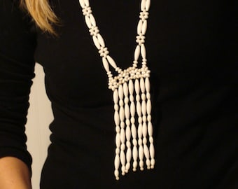Long Vintage White Beaded Funky Flapper Boho Necklace ~ 1920s style