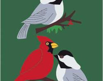 Winter Birds Handcrafted Applique House Flag