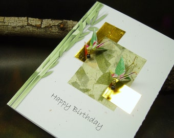Happy Birthday Card/ Origami Cranes Card/ Origami Crane Earrings/ Lucky Bamboo/ Hand Made Paper