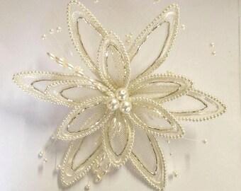 Stunning Huge Pearl Flower.Black or White.