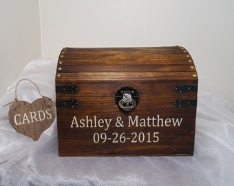 Rustic Wooden Wedding Card Chest w/ Card Slot, Wedding Card Placement Box, Wedding Card Chest, Keepsake Box, Card Box, Rustic Wedding Chest