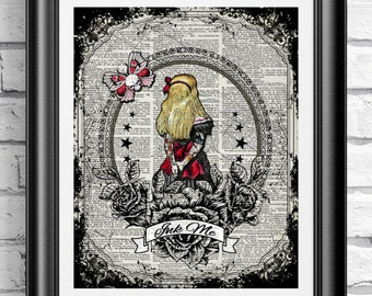 Art print on dictionary book page Alice in Wonderland. Gothic tattooed Alice printed on an antique sheet. Tattoo Upcycled wall hanging.