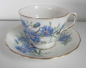 Vintage Cornflower pattern Royal Vale Tea cup and saucer, Porcelain Ridgway potteries LTD, Bone China, England