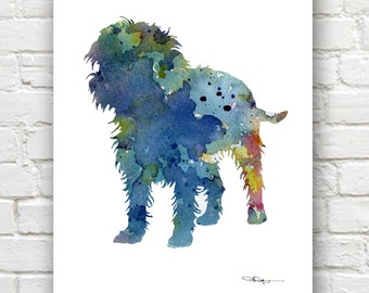 Blue Affenpinscher Art Print - Abstract Watercolor Painting - Wall Decor