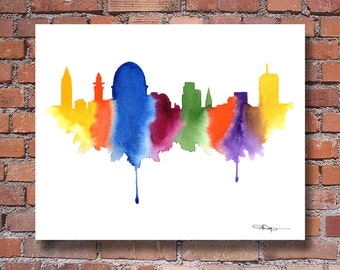 Jerusalem Skyline Art Print - Abstract Israel Watercolor Painting - Wall Decor
