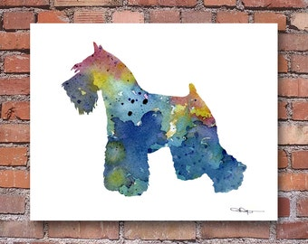 Blue Miniature Schnauzer Art Print - Abstract Watercolor Painting - Wall Decor