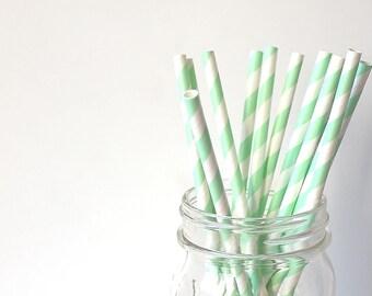 Lot of 10 straws striped light green