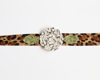 Leopard Lover - Fabric Flower Headband, leopard fabric headband, leopard headwrap, rosette headband, rosette headwrap, leopard fabric flower