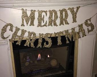 Merry Christmas Silver glitter banner~Custom Christmas banner