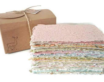 Hand-made Paper, Boxed, Hand Torn Recycled Paper, 100 sheets. Scrap Pack, Craft Box, Collage Paper, Torn Paper Art