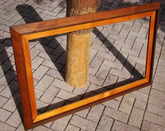Extra large frame w/ 22x40 opening - handmade from rustic red cedar wood and matted w/ cedar wood - perfect large picture frame / map frame
