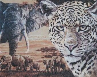"African paper napkin serviette No 41. Wild  Animals.  Ideal for decoupage, collage, scrapbooking, mixed media. Size: 13"" x 13""(33cm x 33cm)"