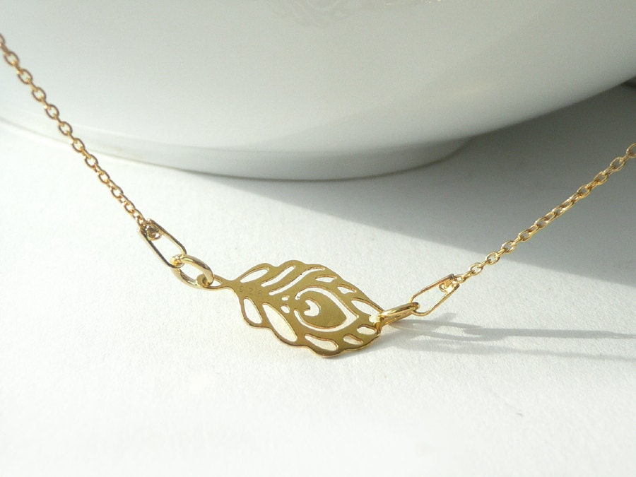delicate peacock feather necklace gold plated chain necklace